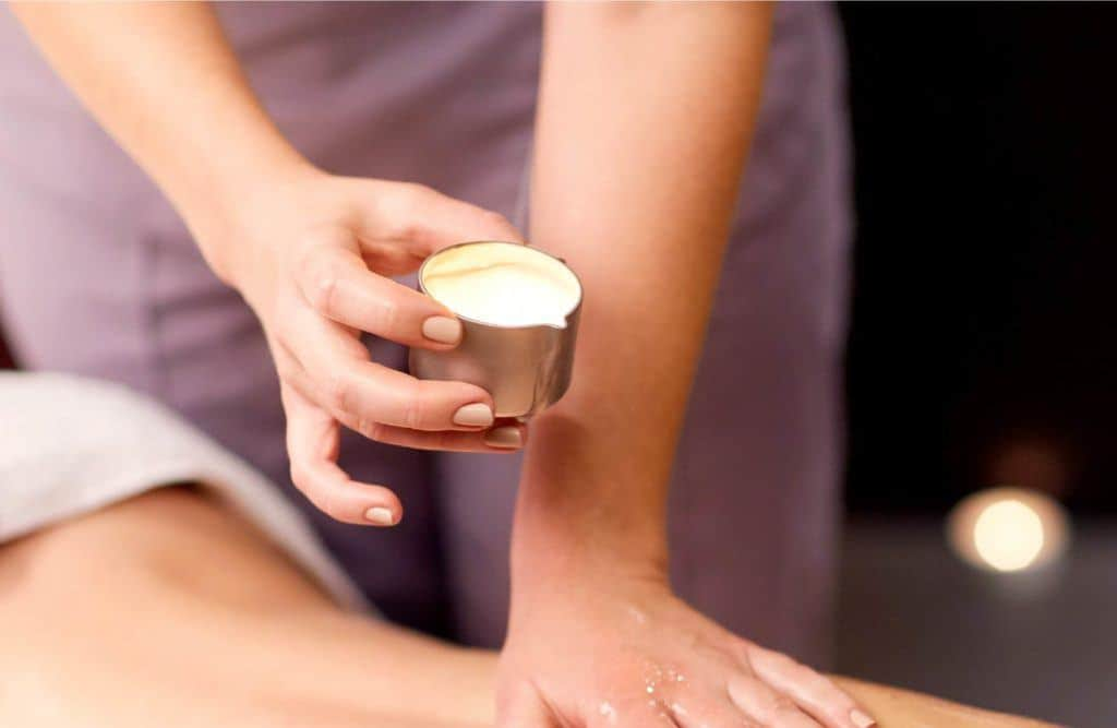 Massage with flavoured oil heated to candles