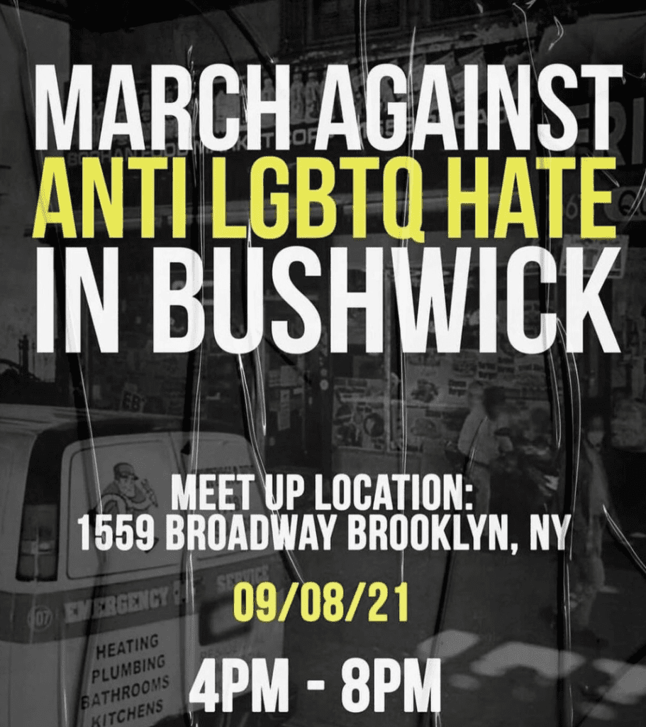 A flyer for the March Against Anti-LGBTQ Hate in Bushwick.
