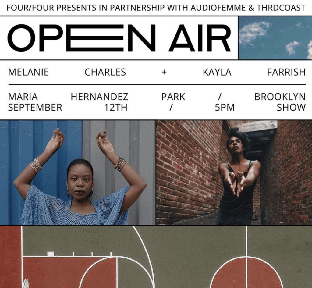 A flyer for Open Air, a collaborative music and dance performance in Maria Hernandez Park