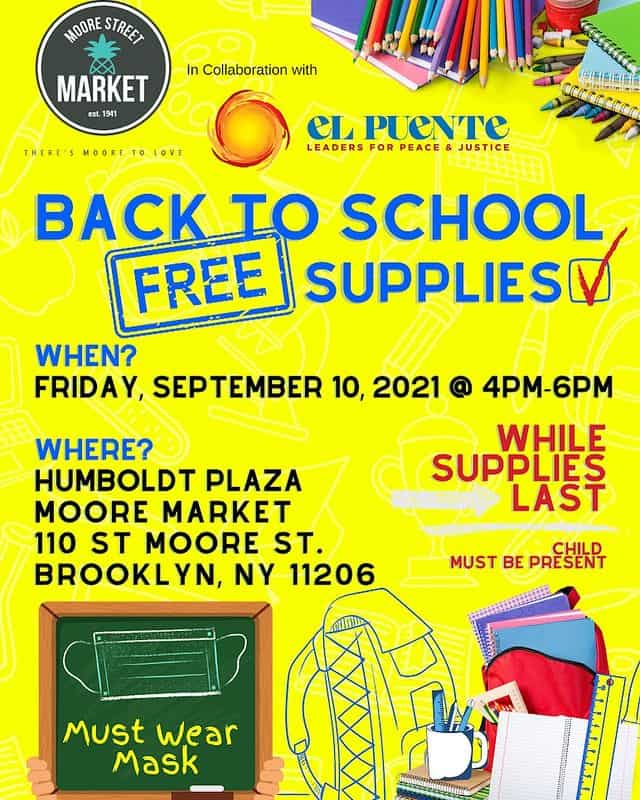 A flyer for El Puente's free school supply giveaway on Friday, September 10.
