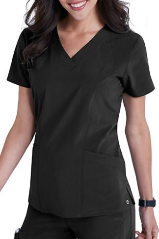 5105 Black - Barco One Women's Solid Perforated Fabric Scrub Top