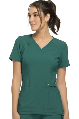 CK605- Hunter - Cherokee iflex Scrubs V-Neck Knit Panel Top