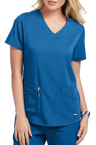 GRST011 Royal - Grey's Anatomy Spandex Stretch Women's 4 Pocket Scrub Top