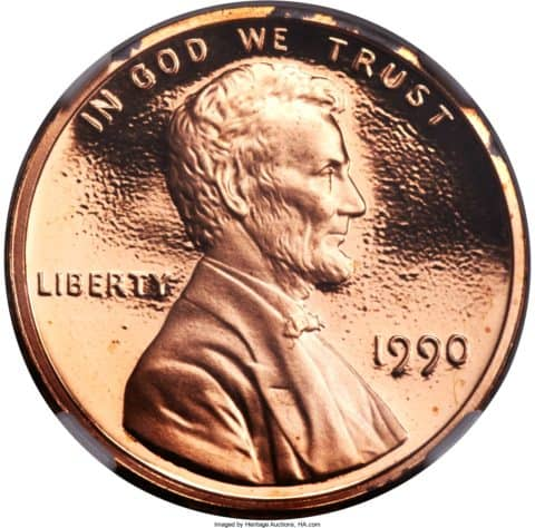 """This 1990 proof penny is missing its """"S"""" mintmark."""