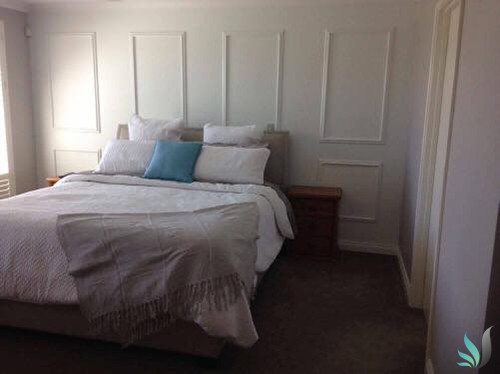 Custom Creations Perth WA decorative wall panelling in master bedroom