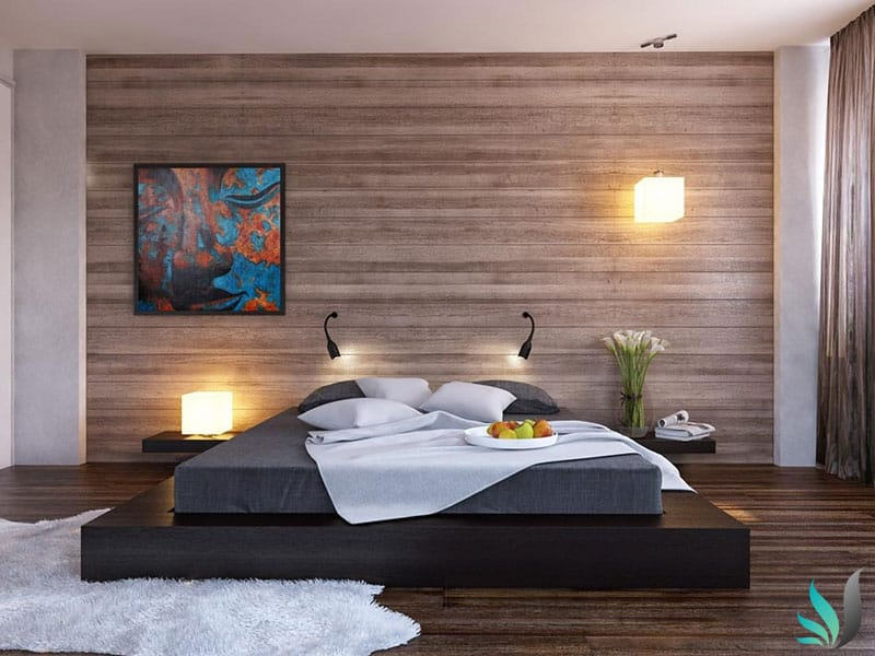 Custom Creations Perth WA timber master bedroom feature wall