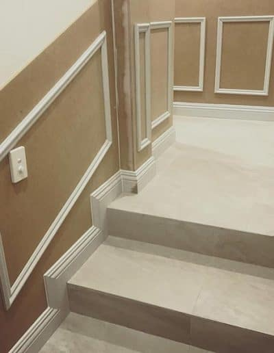Custom Creations wainscoting wall panelling installation in Sorrento WA home stairway