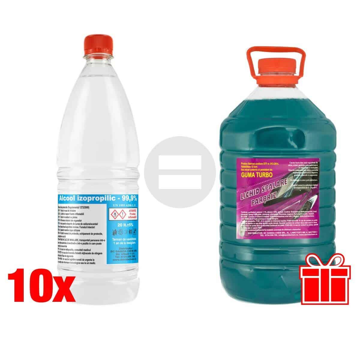Pachet promotional 10 alcool izopropilic cadou solutie parbriz Danida Chem