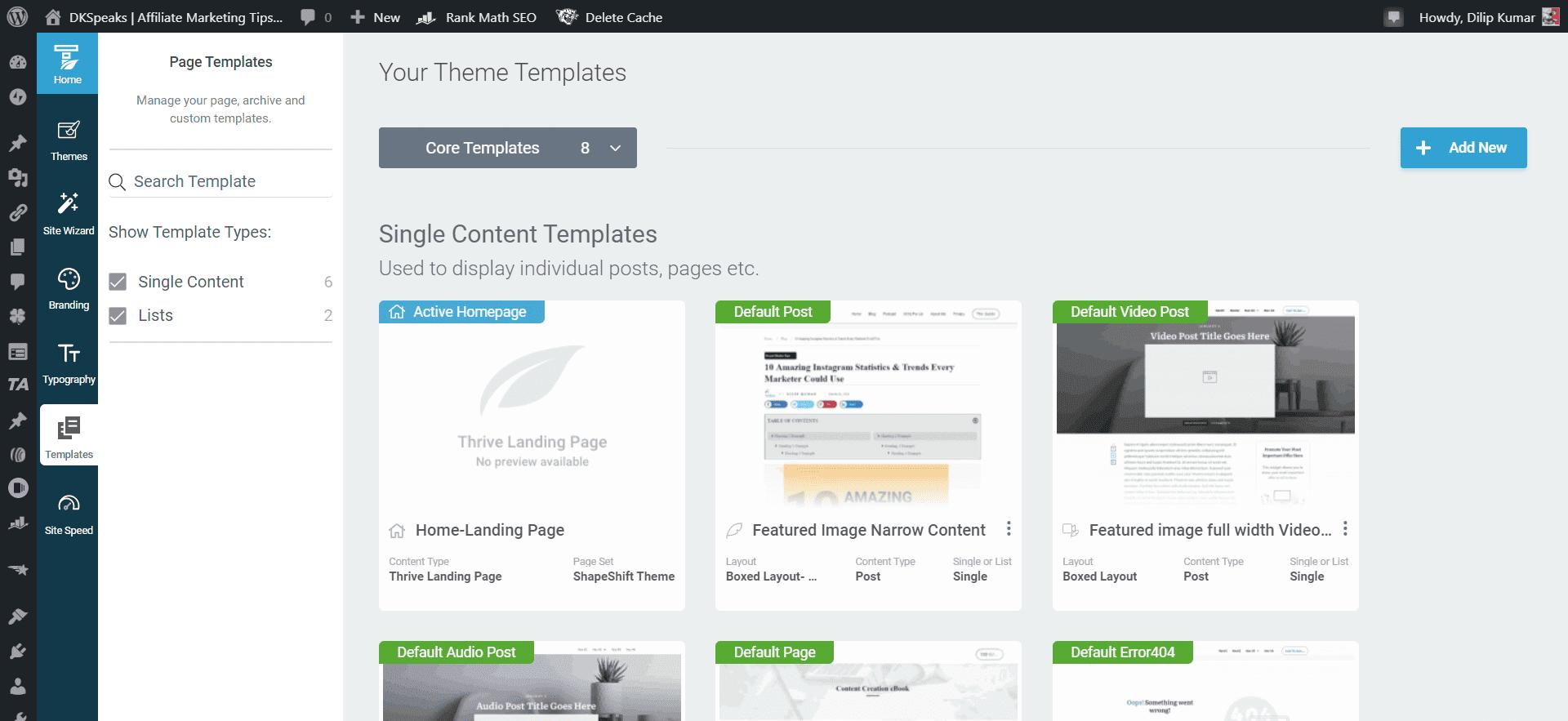 thrive theme builder templates