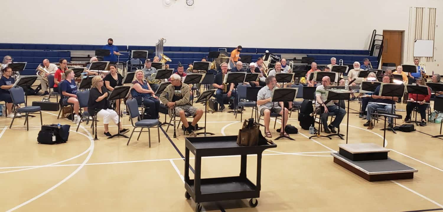 Dunedin Concert Band in rehearsal early 2021