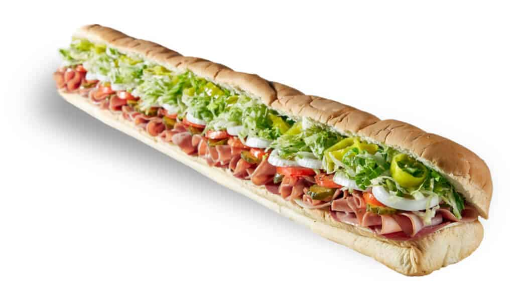 Long sub sandwich with meats, and veggies