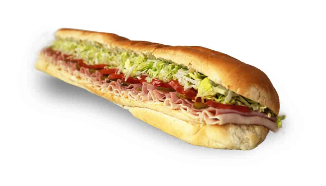 Long sub sandwich with meat and veggies