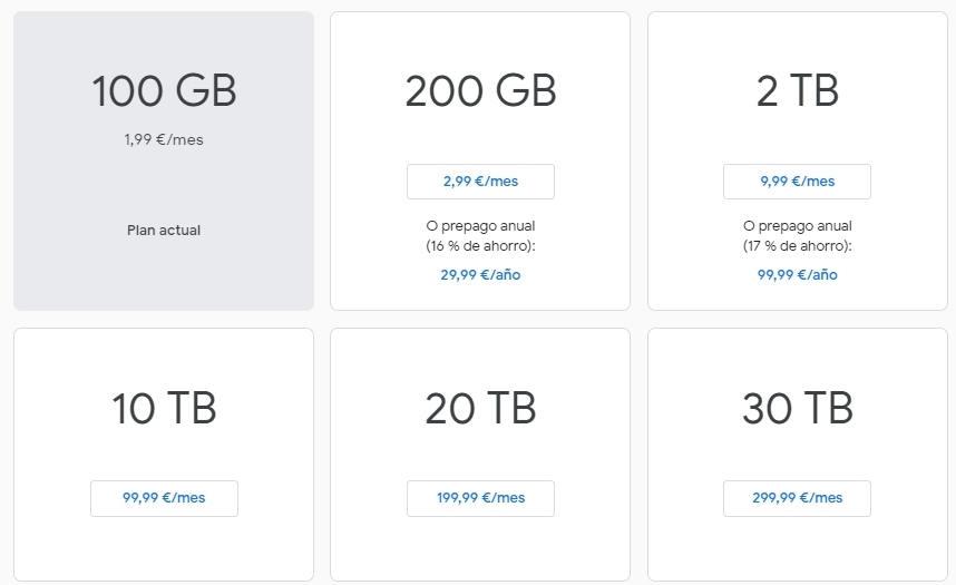 precios Google drive particulares
