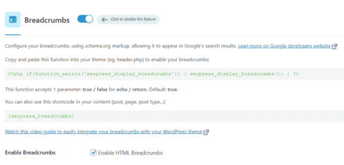 The enabled breadcrumbs feature in SEOPress PRO