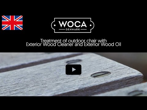 Treatment of outdoor chair with WOCA Exterior Wood Cleaner and Exterior Wood Oil