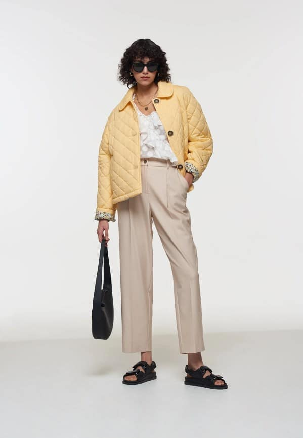 Crop Yellow Quilted Coat Palones
