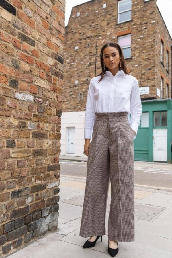 Check Paperbag Wide Leg Trouser, £89, Palones