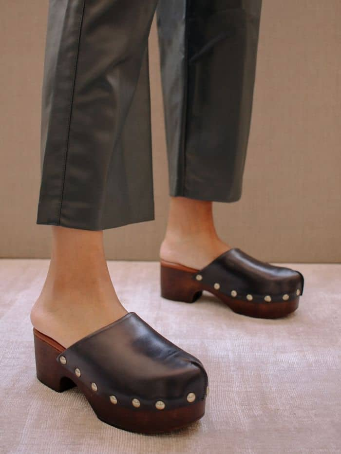 Chunky black leather clogs with studs from Alohas