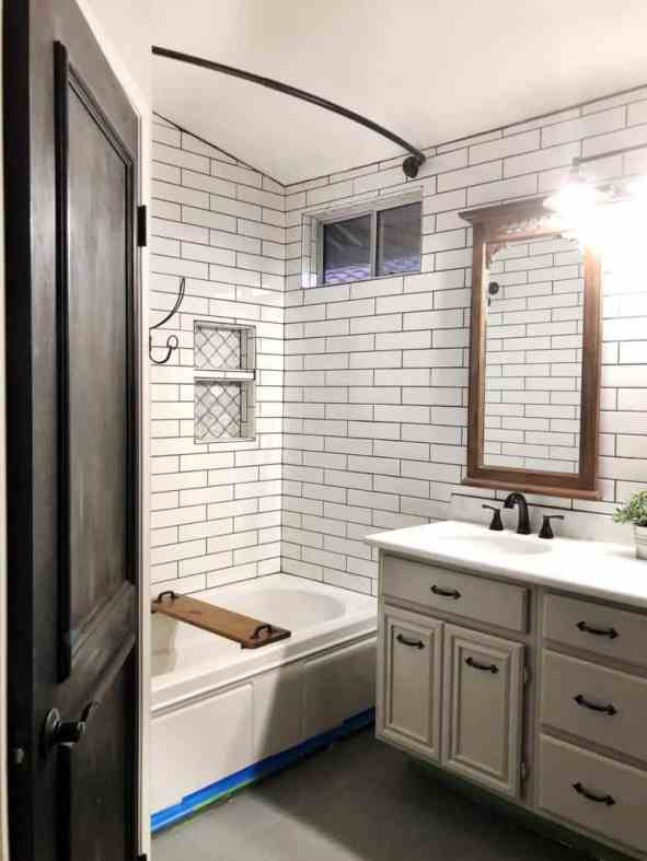 diy farmhouse bathroom black and white