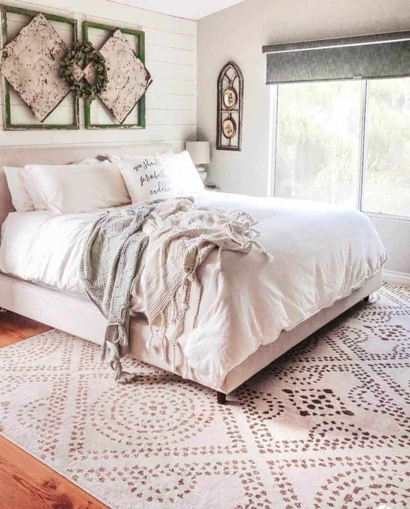 Orian rugs camille seashell rug styled in neutral vintage farmhouse style bedroom