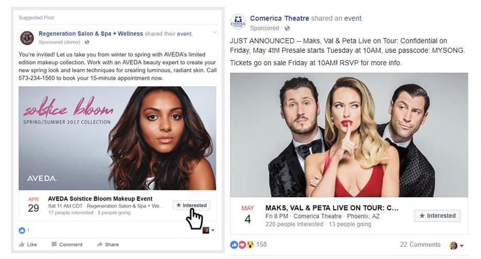 Facebook marketing strategy for small business Event response ads