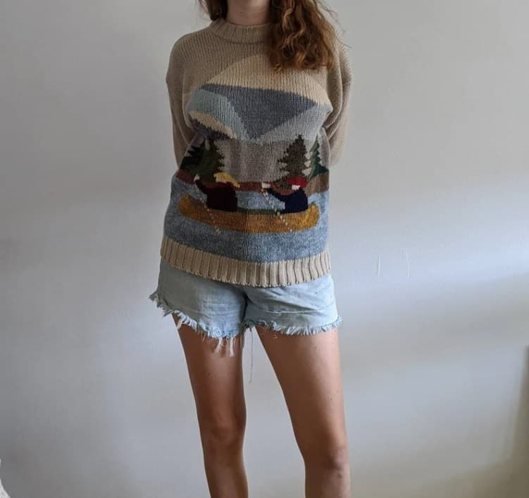 1990's Novelty Virgin Wool Knit Sweater with Landscape image 0