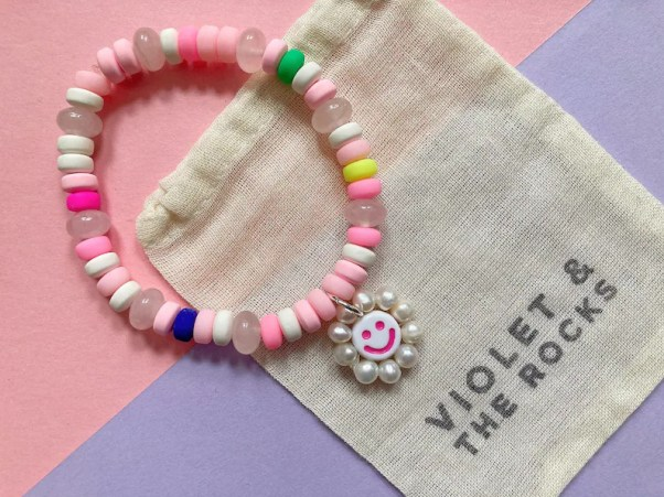 Smiley Candy Sweetie Bracelet Rose Quartz Healing Crystals Violet And The Rocks at Etsy
