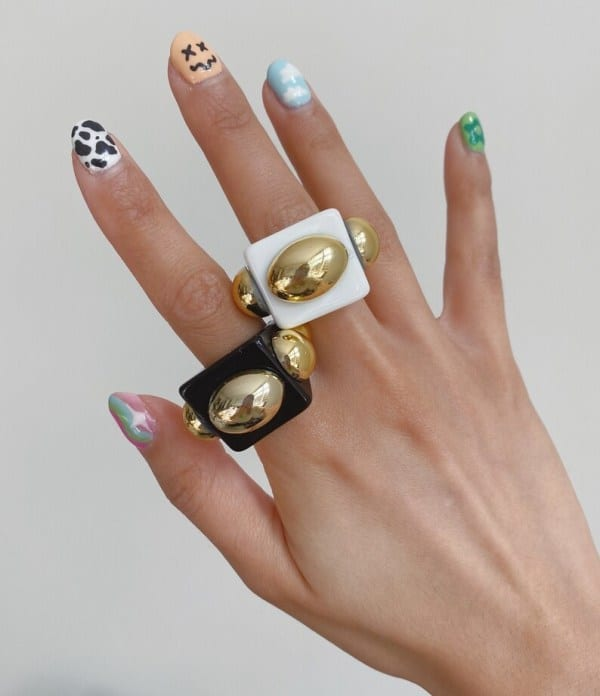 Chunky Rings with Big Studs size 6 3/4 white/ black etsy
