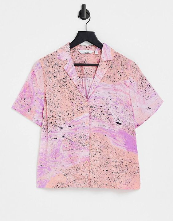 & Other Stories co-ord marble print shirt in multi