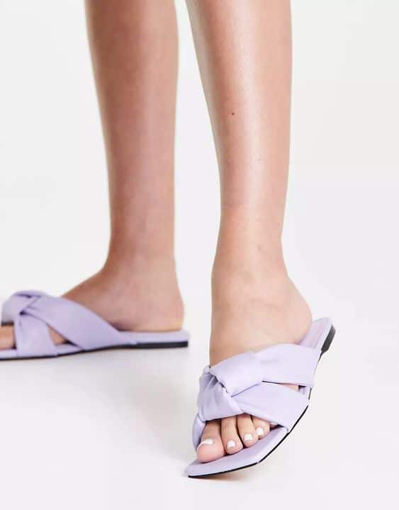ASOS DESIGN Fay padded knotted flat mules in lilac