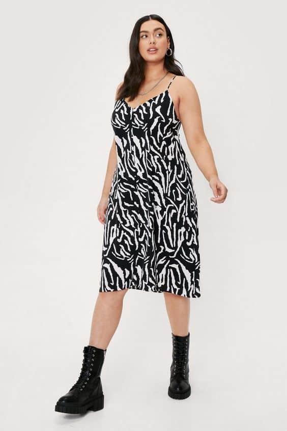 Plus Size Zebra Print V Neck Cami Midi Dress | Nasty Gal