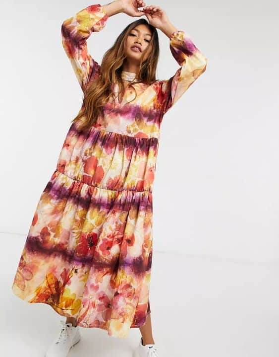 Damson Madder tiered organic cotton maxi dress in floral with bow neck tie