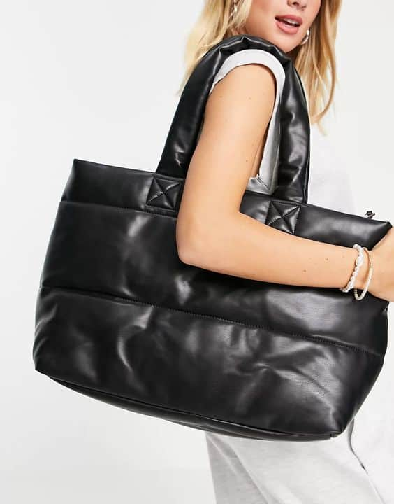 Topshop large quilted tote bag in black
