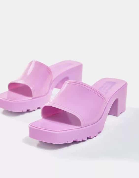 Bershka jelly heeled sandal in lilac