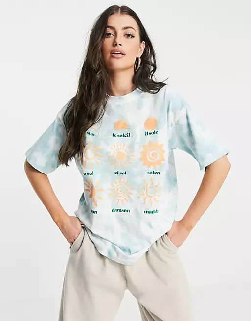 Damson Madder organic cotton oversized t-shirt in tie dye with sun graphics