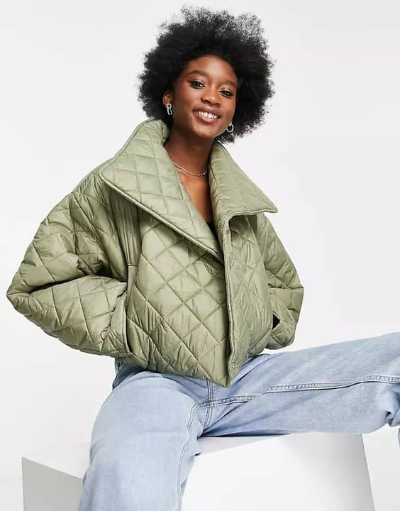 ASOS DESIGN quilted cropped jacket in khaki