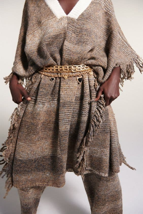 RUSTIC KNIT PONCHO WITH FRINGING Zara