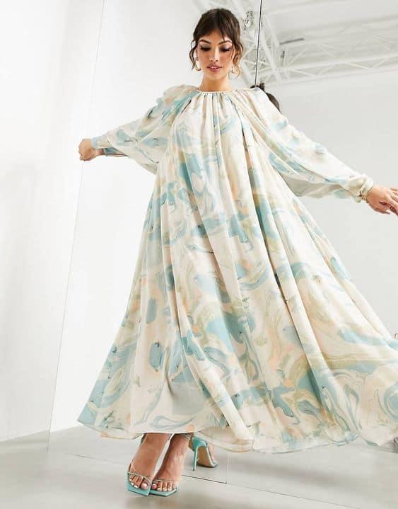 ASOS EDITION midi dress in marble print
