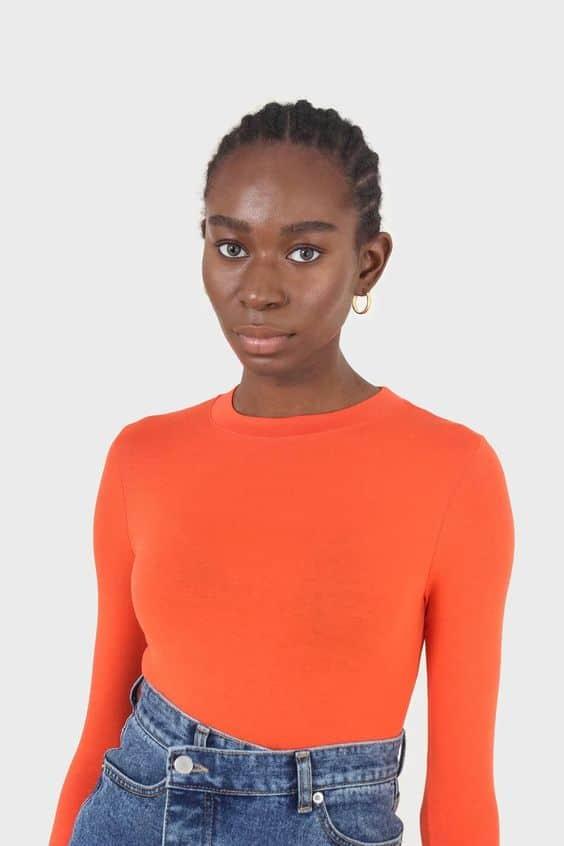 Bright orange soft jersey long sleeve top glassworks london