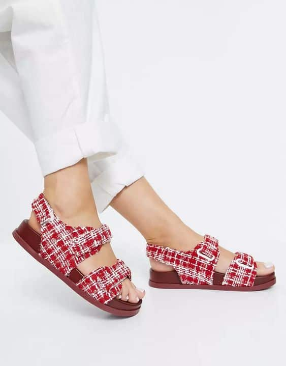 ASOS DESIGN Factually sporty sandals in red tweed