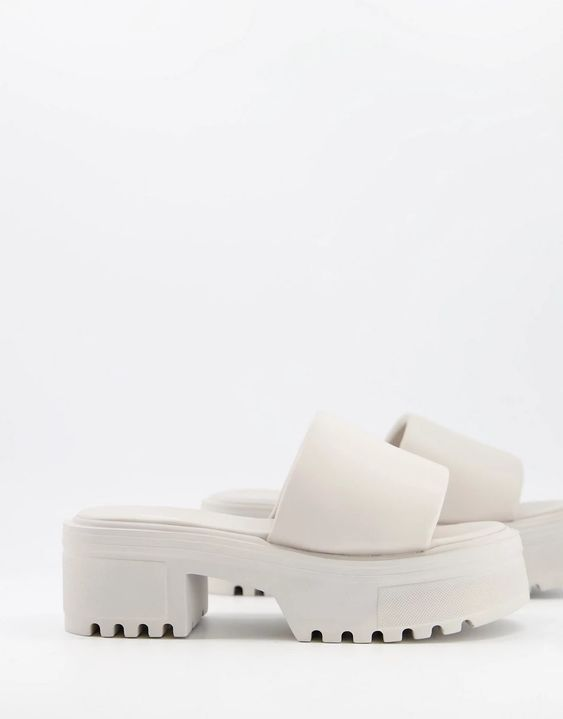 ASOS DESIGN Tile chunky padded mid heeled sandals in off white | ASOS