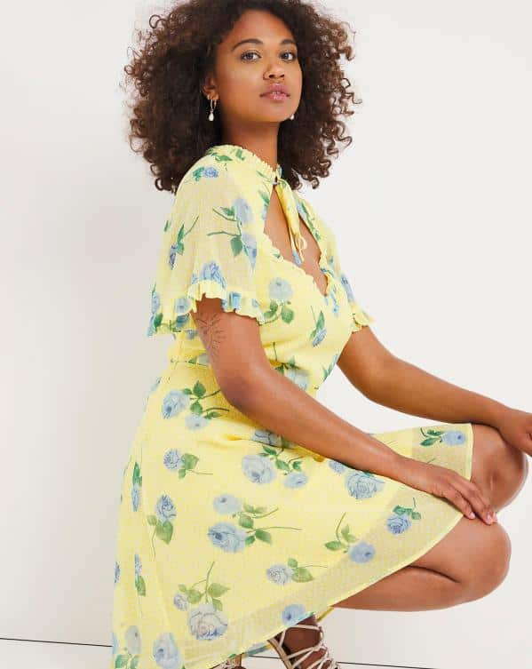 Yellow Floral Print Cut Out Skater Dress with Tie Detail SimplyBe
