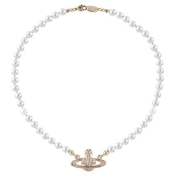 Saturn Pearl Necklace Crystals Gold Plated Saturn Pendant Necklace Ladies' Wedding Bridal
