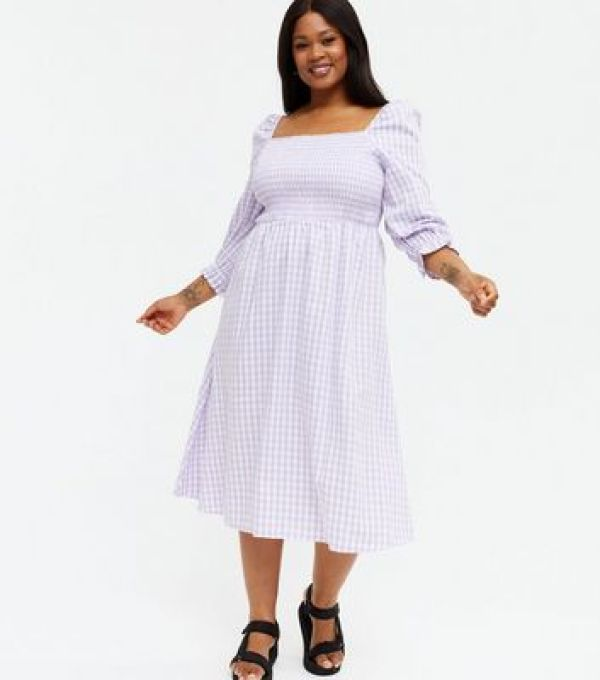 Curves Lilac Gingham Textured Square Neck Midi Dress new look