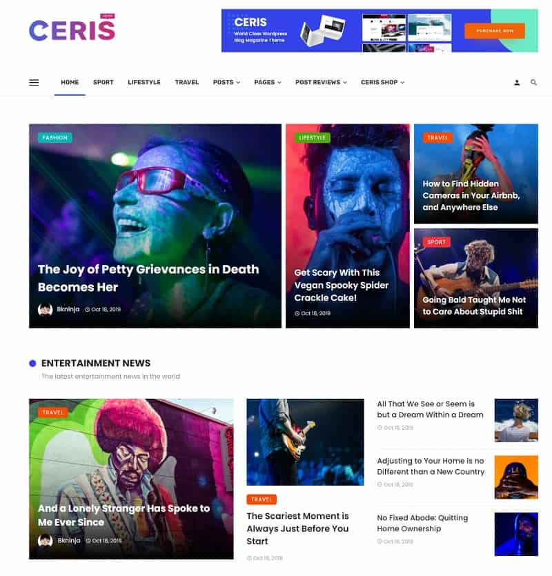 Ceris - Magazine & Blogs WordPress Theme