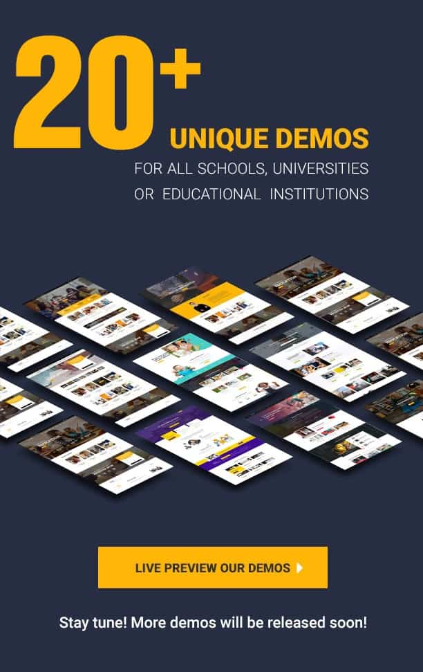 20+ Education Demos plus 1 click Demo Importer