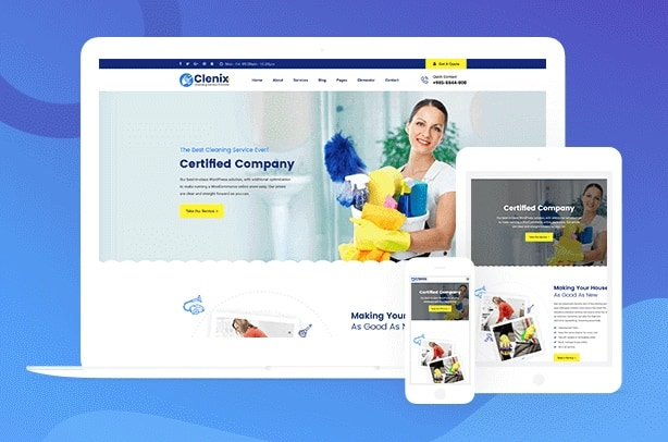 Clenix - Cleaning Services WordPress Theme responsive