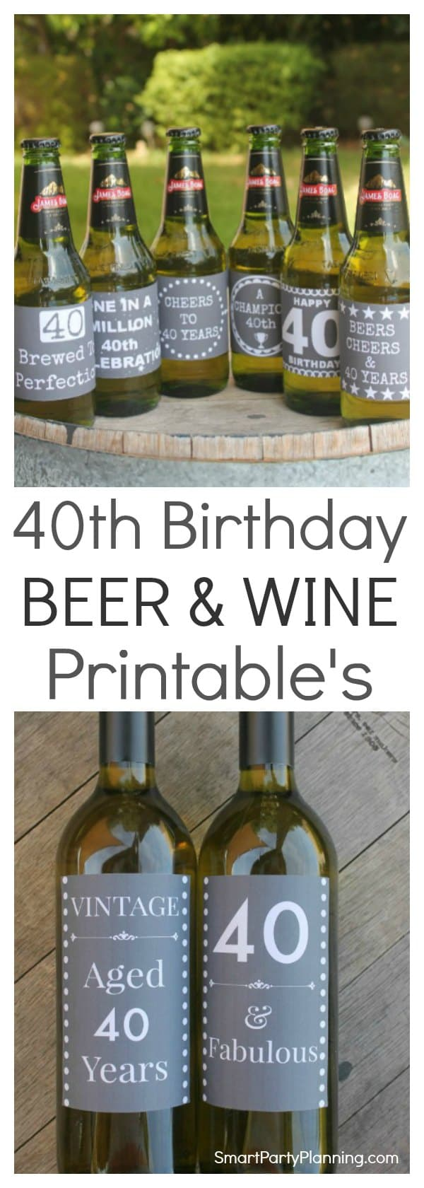 40th birthday beer and wine labels