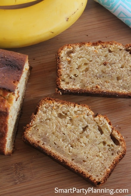 Two slices of the best ever moist banana bread
