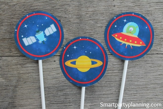 Space printables Cupcake Toppers